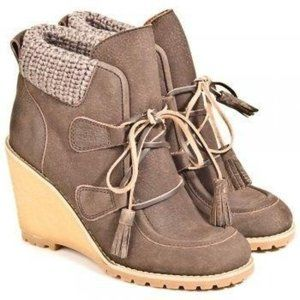 See by Chloe Wedge Leather Tassel Tie Ankle Bootie